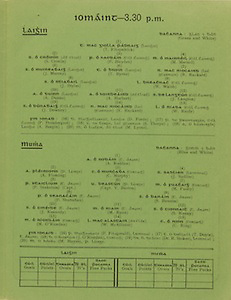 Interprovincial Railway Cup Football Cup Final,  17.03.1950, 03.17.1950, 17th March 1950, referee D O Ryan, Leinster1-07, Ulster 4-11,.Interprovincial Railway Cup Hurling Cup Final,  17.03.1950, 03.17.1950, 17th March 1950, referee M S O Flairbeartaig, Leinster 1-03, Munster 0-09, Leinster Hurling Team, T Fitzpatrick, S Cronin, P Hayden, M Marnell, J Murray, T Byrne, R Rackard, J Styles, W Walsh, A Dunne, A Herbert, J Langton, J Downey, N Rackard, W Reidy, D Forde, P Prendergast, S Thorphe, A Bergin, M Lyons, Munster Hurling Team, A Reddan, A Fleming, C Murphy, J Sadlier, P Stakelum, Capt V Baston, M Fuohy, P Shanahan, S Bannon, J Kennedy, M Ryan, S Kenny, M O'Riordan, W McAllister, C Ring, P Fitzgerald, T Doyle, J O'Riordan, Dr R Stokes, M Haydes,