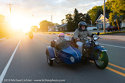Rick Salisbury of Legends Motorcycles in Springville, UT on his way to the SS Badger Lake Michigan ferry during the Cross Country Chase motorcycle endurance run from Sault Sainte Marie, MI to Key West, FL (for vintage bikes from 1930-1948). Stage 2 from Ludington, MI to Milwaukee, WI, USA. Saturday, September 7, 2019. Photography ©2019 Michael Lichter.