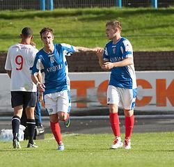 Cowdenbeath's Greg Stewart celebrates after scoring their goal (right).<br /> Cowdenbeath 1 v 0 Falkirk, 14/9/2013.<br /> ©Michael Schofield.