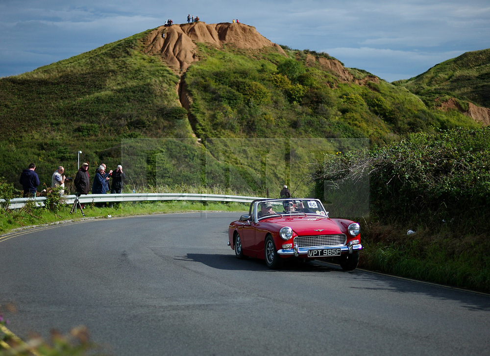 © Licensed to London News Pictures. <br /> 10/09/2017 <br /> Saltburn by the Sea, UK.  <br /> <br /> An entrant drives his Triumph up the hill during the annual Saltburn by the Sea Historic Gathering and Hill Climb event. Organised by Middlesbrough and District Motor Club the event brings together owners of a wide range of classic cars and motorcycles dating from the early 1900's to 1975. Participants take part in a hill climb to test their machines up a steep hill near the town. Once held as a competitive gathering a change in road regulations forced the hill climb to become a non-competitive event.<br /> <br /> Photo credit: Ian Forsyth/LNP