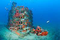 One of the deeper artificial reef submerged, lying on the sand, Larvotto Marine Reserve, Monaco, Mediterranean Sea<br /> Mission: Larvotto marine Reserve