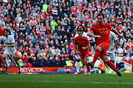 Robbie Fowler of Liverpool legends team scores his teams 3rd goal from the penalty spot. Liverpool Legends  v Real Madrid Legends, Charity match for the LFC Foundation at the Anfield stadium in Liverpool, Merseyside on Saturday 25th March 2017.<br /> pic by Chris Stading, Andrew Orchard sports photography.