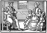 A Puritan Family. Father teaching his family to sing Psalms rather than 'vayne and tryflying ballades'. From the position of his hands it seems he is using a mnemonic device such as the Guidonian hand to signal which note to sing.  From frontispiece of 'Tenor of the whole Psalmes in Four Parts' London 1563. Woodcut .