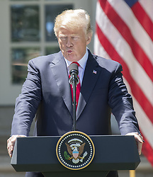 United States President Donald J. Trump makes remarks as he conducts a joint press conference with President Muhammadu Buhari of Nigeria in the Rose Garden of the White House in Washington, DC on Monday, April 30, 2018. Photo by Ron Sachs/CNP/ABACAPRESS.COM