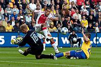 Fotball<br /> Nederland<br /> Foto: ProShots/Digitalsport<br /> NORWAY ONLY<br /> <br /> Brøndby IF - Ajax , 10-08-2005 , UEFA Champions League Qualification , Nigel de Jong in duel met Casper Ankergen en Daniel Agger