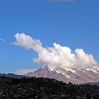 South America, Bolivia, La Paz. Illimani peak overlooking La Paz.