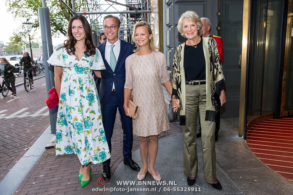 NLD/Amsterdam/20190916 - Prinses Irene viert verjaardag bij een ode aan de natuur , Prinses Irene met dochter Prinses Carolina en zoon Jaime de Bourbon de Parme en zijn partner Viktoria Cservenyak
