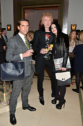 Left to right, fashion commentator JAMES SHERWOOD, SIR TOM BAKER and DANIELA MIHALIA at a reception hosted by Wei Koh founder of The Rake Magazine and Thomas Kochs General Manager of Claridge's to celebrate London Collections: Man 2014 at Claridge's, Brook Street, London on 5th January 2014.