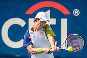 Japan's Kei Nishikori hits a return to USA's Jack Sock during their men's singles match at the Citi Open ATP tennis tournament in Washington, DC, USA, 1 Aug 2013. Nishikori won the match 7-5, 6-2 to advance.