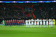 Both teams observe a minutes silence in respect of the Chapecoense players and others who were killed in a recent plane crash. UEFA Champions league match, group E, Tottenham Hotspur v CSKA Moscow at Wembley Stadium in London on Wednesday 7th December 2016.<br /> pic by John Patrick Fletcher, Andrew Orchard sports photography.
