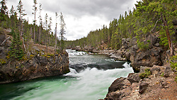 Yellowstone River above Upper Yellowstone Falls. I love this bend of the river because standing there you just feel the raw power of the river as it channels through that narrow spot.