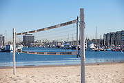 Sand Volleyball Court at the beach in the Marina Del Rey Harbor