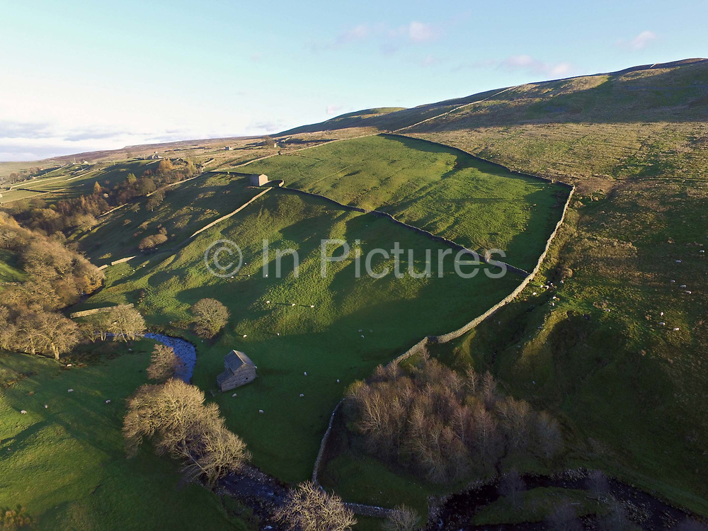 An aerial view of a typical Upper Swaledale landscape near the village of Crackpot in North Yorkshire, United Kingdom on 12th November 2017. Swaledale is the valley of the river Swale and is one of the northernmost dales valleys in the Yorkshire Dales National Park