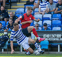 Preston North End's Emil Riis Jakobsen (right) battles for possession with Reading's Michael Morrison (left) <br /> <br /> Photographer David Horton/CameraSport<br /> <br /> The EFL Sky Bet Championship - Reading v Preston North End - Saturday 14th August 2021 - Select Car Leasing Stadium - Reading<br /> <br /> World Copyright © 2021 CameraSport. All rights reserved. 43 Linden Ave. Countesthorpe. Leicester. England. LE8 5PG - Tel: +44 (0) 116 277 4147 - admin@camerasport.com - www.camerasport.com