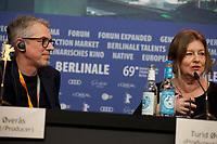 Producer Turid Øversveen at the press conference for the film Out Stealing Horses (Ut Og Stjæle Hester) at the 69th Berlinale International Film Festival, on Saturday 9th February 2019, Hotel Grand Hyatt, Berlin, Germany.