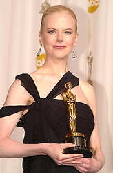 March 23, 2003 - U.S. - KRT ENTERTAINMENT STORY SLUGGED: OSCARS KRT PHOTO BY BETTY COBB/ZAP2IT.COM (March 24) Nicole Kidman holds her Oscar for Best Actress for ''The Hours'' backstage at the 75th Annual Academy Awards on Sunday, March 23, 2003. (gsb) 2003 (Credit Image: © Betty Cobb/TNS/ZUMAPRESS.com)