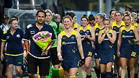 BRUXELLES (Belgium) -  Georgia Nanscawen (Aus.) played her 200 caps.  left coach Paul Gaudoin (Aus.)   Hockey World League women (semi final competition)  BELGIUM v AUSTRALIA. COPYRIGHT KOEN SUYK