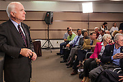 23 AUGUST 2012 - PEORIA, AZ:  Senator JOHN McCAIN (R-AZ) talks about the federal budget during a town hall meeting in Peoria, AZ. Sen. McCain held a town hall in Peoria, a suburb of Phoenix, to talk about the impact that sequestration would have on the Arizona economy and the Department of Defense. McCain said sequestration would immediately cost Arizona more than 35,000 defence related jobs and decimate the armed forces. Sequestration would result in about $1.2 trillion being cut from the federal budget. Sequestration, and automatic budget cuts, is scheduled to go into effect on Jan 1, 2013, if the President and Congress can't agree on budget.     PHOTO BY JACK KURTZ