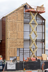 Boathouse at Canal Dock Phase II | State Project #92-570/92-674 Construction Progress Photo Documentation No. 17 on 1 December 2017. Image No. 02 Front, West, Elevation, Glass Curtain Wall temporary protective panels being installed