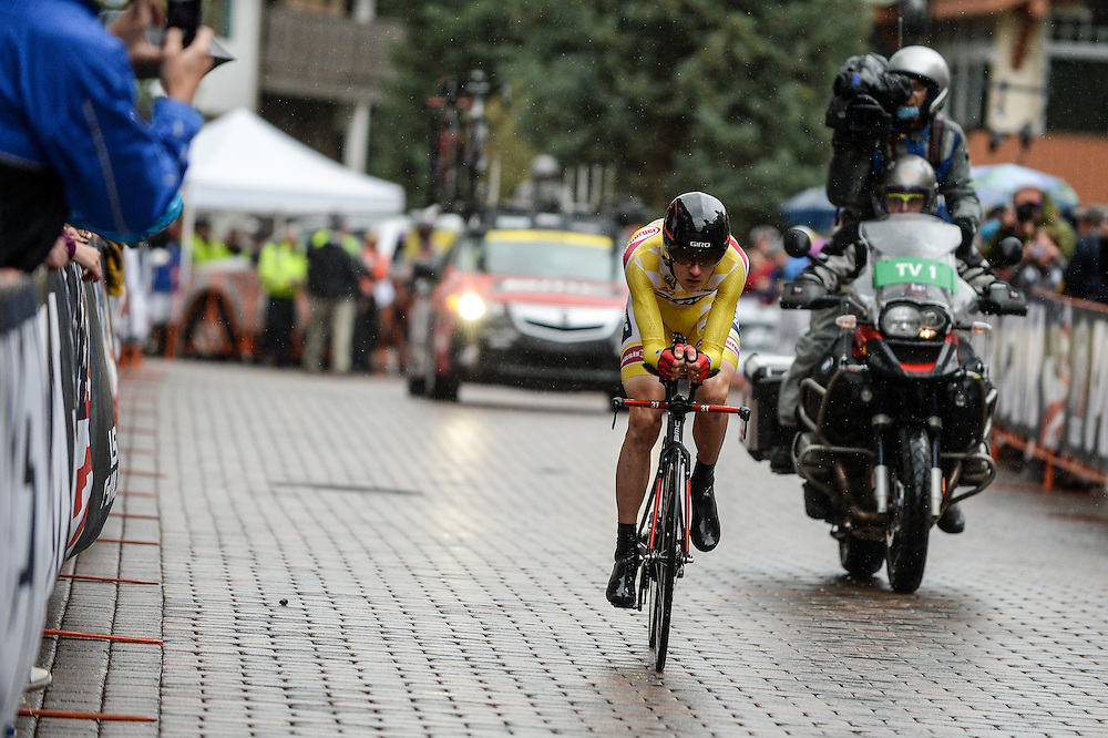Stage 6 of the 2014 USA Pro Challenge. Vail TT. Tejay van Garderen smashes the Vail TT course record averaging 24.6 mph for 10 miles on the uphill Vail TT course.