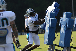 July 28, 2018 - Spartanburg, SC, U.S. - SPARTANBURG, SC - JULY 28: Shaq Thompson (54) linebacker Carolina Panthers runs through a drill during the third day of the Carolina Panthers training camp practice at Wofford College July 28, 2018 in Spartanburg, S.C. (Photo by John Byrum/Icon Sportswire) (Credit Image: © John Byrum/Icon SMI via ZUMA Press)