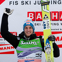 Winner Gregor Schlierenzauer of Austria at flower ceremony at Flying Hill Individual at 2nd day of FIS Ski Jumping World Cup Finals Planica 2011, on March 18, 2011, Planica, Slovenia. (Photo by Vid Ponikvar / Sportida)