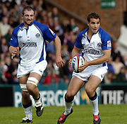 Leicester, England UK., 9th October 2004,  Zurich Premiership Rugby, Leicester Tigers vs Bath Rugby, Welford Road,<br /> [Mandatory Credit: Peter Spurrier/Intersport Images],<br /> Baths Steve borhwick [left] and Olly Backley.
