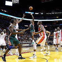22 January 2012: Milwaukee Bucks point guard Brandon Jennings (3) goes for the floater during the Milwaukee Bucks 91-82 victory over the Miami Heat at the AmericanAirlines Arena, Miami, Florida, USA.