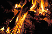 close up of campfire at night