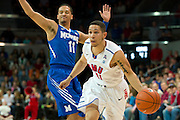 DALLAS, TX - FEBRUARY 01: Nic Moore #11 of the SMU Mustangs drives to the basket against the Memphis Tigers on February 1, 2014 at Moody Coliseum in Dallas, Texas.  (Photo by Cooper Neill/Getty Images) *** Local Caption *** Nic Moore
