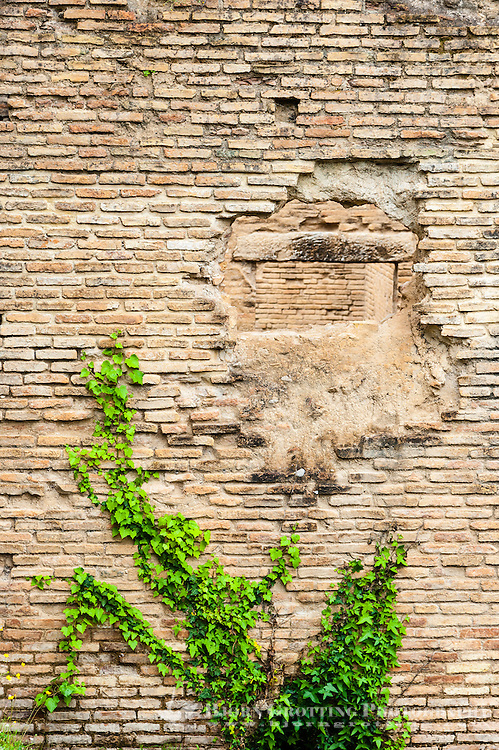 Olympia, Greece. The site of the Olympic Games in classical times. Hole in the wall at the Roman Baths.