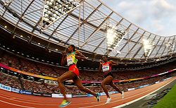 LONDON, Aug. 14, 2017  Hellen Onsando Obiri (R) of Kenya competes during the women's 5000m final on Day 10 at the IAAF World Championships 2017 in London, Britain on Aug. 13, 2017. (Credit Image: © Wang Lili/Xinhua via ZUMA Wire)
