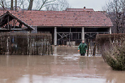Feb. 6, 2015 - Gjilan, Kosovo - A resident of the village walking throughout the water desperate after he found that his chickens were dead. A general view shows flooded area in Livoc i Ulet village, near Gjilan, Kosovo, 06 February 2015. Heavy rain and snow caused rivers to flood thousands of hectares of land, homes and many roads across Kosovo's southern corner. Many areas in southern Kosovo are about to remain without water supply. (Credit Image: © Vedat Xhymshiti/ZUMA Wire)