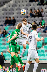 Robert Pusaver of NK Rudar Velenje vs Kidric Rok of NK Olimpija Ljubljana during football match between NK Olimpija Ljubljana and NK Rudar Velenje in 25rd Round of Prva liga Telekom Slovenije 2018/19, on April 7th, 2019 in Stadium Stozice, Slovenia Photo by Matic Ritonja / Sportida