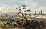 Battle of Churubusco 20 August 1847, Mexican-American War 1846-1848. American under command of  General Winfield Scott defeated Mexicans commanded by generals Manuel Rincon and Pedro Anaya.  Hand-coloured lithograph, 1851.