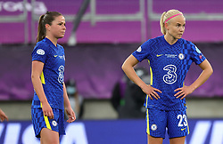 Chelsea's Pernille Harder (right) appears dejected after Barcelona's Alexia Putellas (not pictured) scores their side's second goal of the game from the penalty spot during the UEFA Women's Champions League final, at Gamla Ullevi, Gothenburg. Picture date: Sunday May 16, 2021.