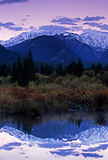 Cabinet Mountains and Bull River in fall. Bull River Valley, northwest Montana