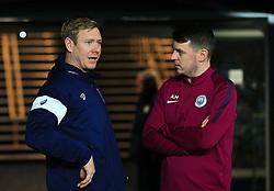 Dean Holden talks with a friend - Mandatory by-line: Matt McNulty/JMP - 09/01/2018 - FOOTBALL - Etihad Stadium - Manchester, England - Manchester City v Bristol City - Carabao Cup Semi-Final First Leg