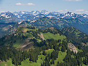 View of the North Cascade mountain range from Church Mountain trail in Mount Baker - Snoqualmie National Forest, Washington, USA.