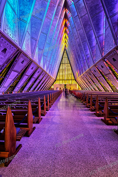 Stain Glass windows coloring the inside of the Protestant Chapel at the US Air Force Academy,