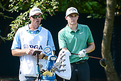 August 10, 2018 - Town And Country, Missouri, U.S - AARON WISE from Las Vegas Nevada, USA wipes off his grip while he discusses the 17th hole with his caddy during round two of the 100th PGA Championship on Friday, August 10, 2018, held at Bellerive Country Club in Town and Country, MO (Photo credit Richard Ulreich / ZUMA Press) (Credit Image: © Richard Ulreich via ZUMA Wire)