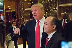 Following a meeting between the two, President-elect Donald Trump Son Masayoshi, CEO and founder of SoftBank, spoke with the press in the lobby of Trump Tower in New York, NY, USA on December 6, 2016. (Photo by Albin Lohr-Jones)