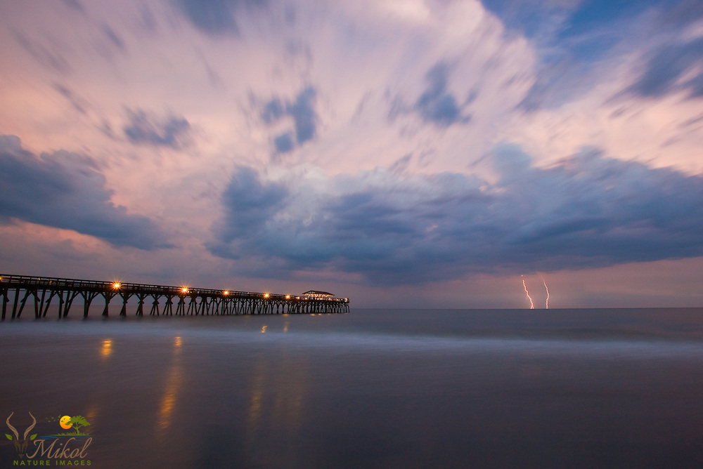 Pier and LIghtning Storm over Atlantic