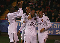 Photo: Steve Bond.<br /> Sheffield United v Arsenal. Carling Cup. 31/10/2007. Denilson (C) celebrates