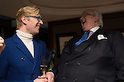 HENRY CONWAY: DAVID MORGAN-HEWITT, David Campbell Publisher of Everyman's Library and Champagen Bollinger celebrate the completion of the Everyman Wodehouse in 99 volumes and the 2015 Bollinger Everyman Wodehouse prize shortlist. The Archive Room, The Goring Hotel. London. 20 April 2015.