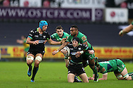 Sam Davies of the Ospreys © is stopped by Naulia Dawai ® of Connacht. Guinness Pro12 rugby match, Ospreys v Connacht rugby at the Liberty Stadium in Swansea, South Wales on Saturday 7th January 2017.<br /> pic by Andrew Orchard, Andrew Orchard sports photography.