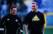 Mark Hammett and Scott Robertson, New Zealand All Blacks v Italy, international test match rugby union, Stadio Luigi Ferraris, Genoa, Italy. 25 November 2000. © Copyright Photo: Dean Treml / www.photosport.nz