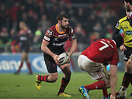 Charlie Davies of the Newport Gwent Dragons makes a break.<br /> Guinness Pro12 rugby match, Munster v Newport Gwent Dragons at Thomond Park in Limerick , Ireland on Saturday 5th March 2016.<br /> pic by  John Halas, Andrew Orchard sports photography.
