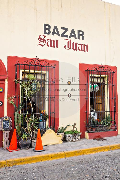 An antique shop in a Spanish colonial style building in the Barrio Antiguo or Spanish Quarter neighborhood adjacent to the Macroplaza Grand Plaza in Monterrey, Nuevo Leon, Mexico.
