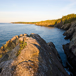 The cliffs of the Bold Coast trail in Cutler, Maine. Cutler Coast Public Reserved Land.